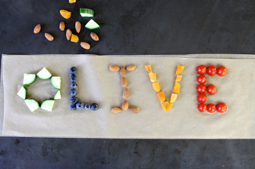 After-school snack idea: write your name with food! Easy and fun.