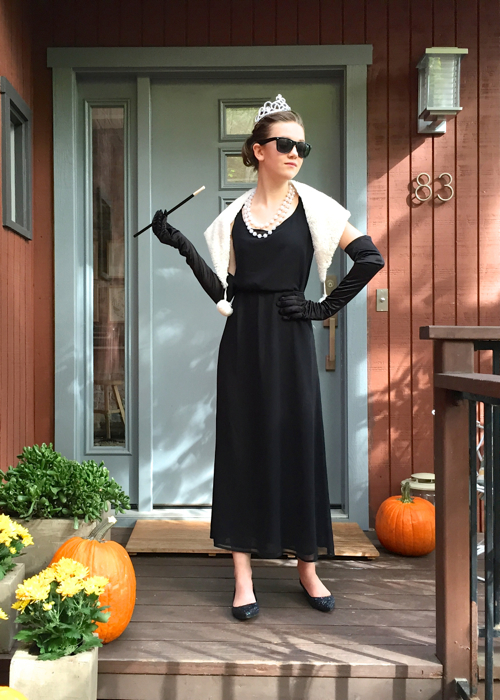 Homemade Audrey Hepburn Holly Golightly Costume DIY. Perfect for Halloween.
