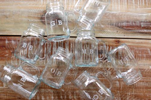 Monogrammed Mason Jars - make one for each family member