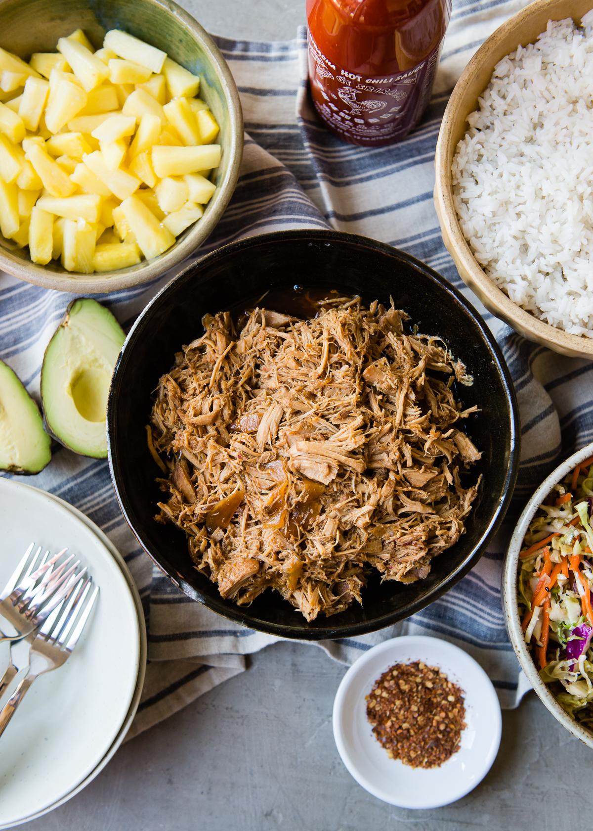 Slow Cooker Teriyaki Pulled Pork Bowls