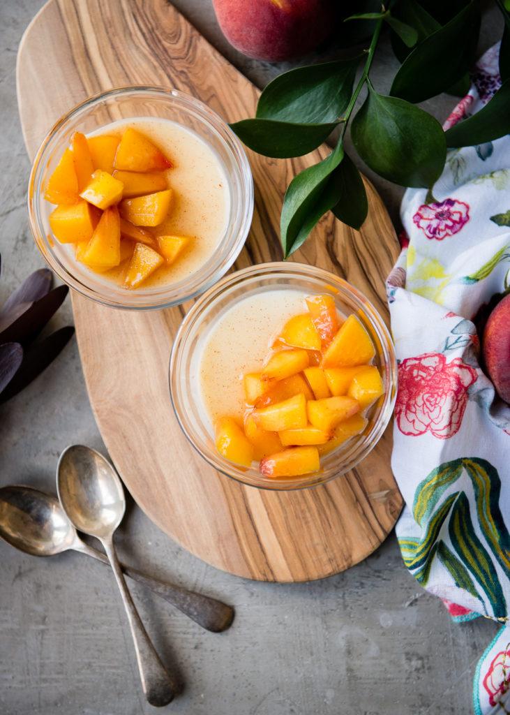 Buttermilk Panna Cotta with Peaches