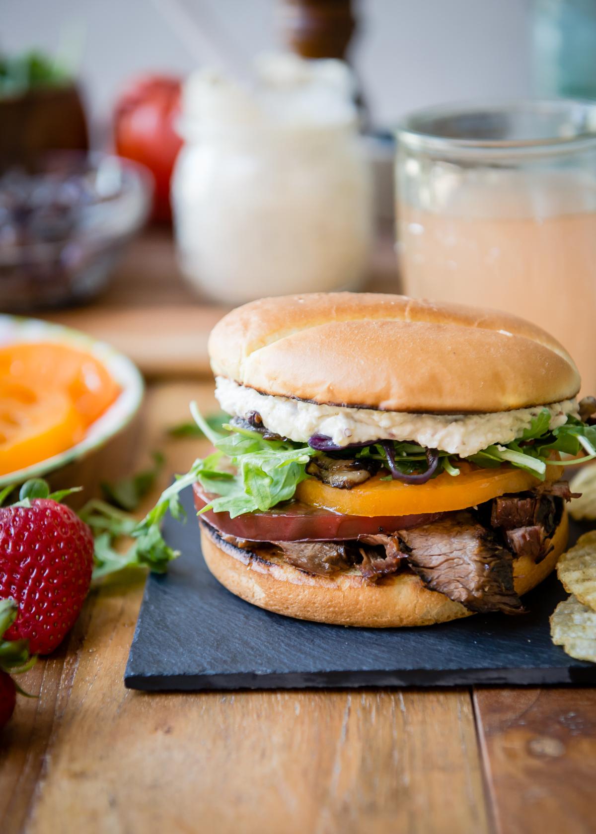 Marinated Grilled Flank Steak Sandwiches
