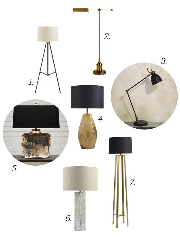 Sorbonne Floor Lamp | 3. Casey Task Lamp | 4. Bezier Table Lamp | 5. Balor  Table Lamp | 6. Adrano Table Lamp | 7. Aston Floor Lamp