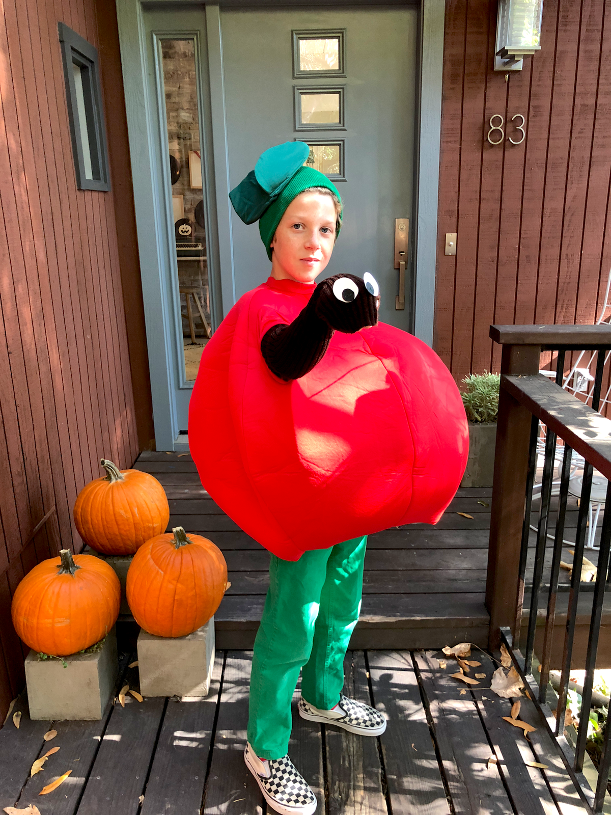 Homemade Halloween Costume Ideas featured by top design blog, Design Mom: wormy apple costume