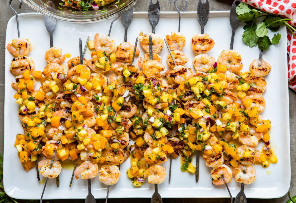 Shrimp Skewers with Spicy Pineapple-Mango Salsa | DesignMom.com